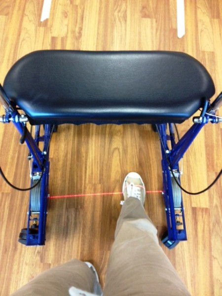 U step walker with laser for foot placement
