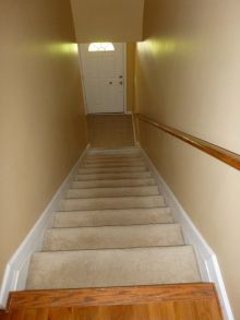low vision carpeted stairs